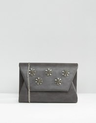 Lavand Embellished Envelope Clutch Bag Grey