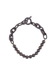 Henson 'Beads Carved Links' Bracelet Black