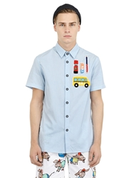 Au Jour Le Jour Patches On Checked Cotton Poplin Shirt Light Blue