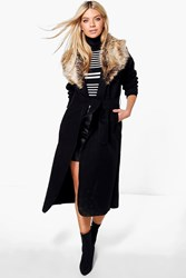 Boohoo Shawl Faux Fur Collar Maxi Coat Black