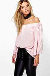 Boohoo Off The Shoulder Top Pink
