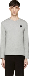 Comme Des Garcons Heather Grey Embroidered Logo Shirt
