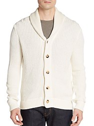 Saks Fifth Avenue Ribbed Silk And Cotton Shawl Cardigan White