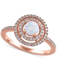 Aurora By Effy Collection Opal 3 8 Ct. T.W. And Diamond 1 4 Ct. T.W. Ring In 14K Rose Gold White
