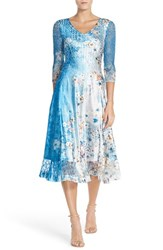 Women's Komarov Floral Print Lace And Charmeuse A Line Dress