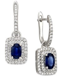 Macy's Sapphire 1 Ct. T.W. And Diamond 5 8 Ct. T.W. Hoop Drop Earrings In 14K White Gold