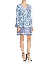 Prive Lily Printed A Line Dress Blue Ivory