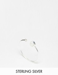 Asos Sterling Silver Fine Open Bead Ring White