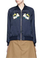 Muveil Bumblebee Embroidery Applique Satin Bomber Jacket Blue