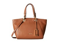 Calvin Klein Pebble Satchel Luggage Satchel Handbags Brown
