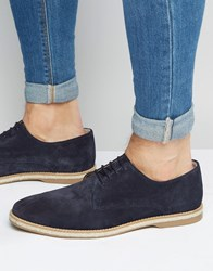 Asos Derby Shoes In Navy Suede With Jute Wrap Sole Navy