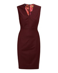 Ted Baker Delihad Fitted V Neck Suit Dress Red