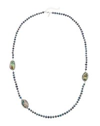 Panacea Long Luxe Pearl And Abalone Hue Station Necklace Gray