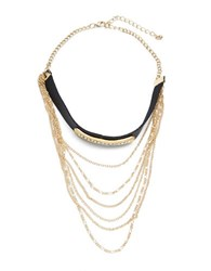 Design Lab Lord And Taylor Chain Accented Faux Leather Choker Necklace Mixed Metal