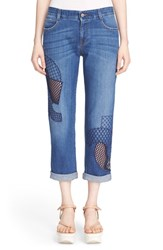 Women's Stella Mccartney 'Tomboy' Embroidered Overlay Cutout Jeans