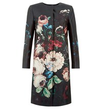 Hobbs Painted Blooms Coat Multi Coloured Multi Coloured
