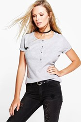 Sally Ribbed Button Through T Shirt
