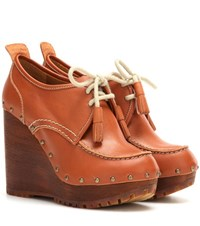 See By Chloe Leather Wedge Ankle Boots Brown
