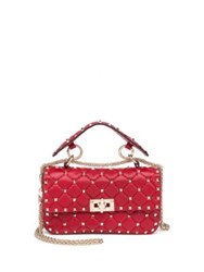 Valentino Rockstud Small Quilted Leather And Chain Top Handle Bag Red
