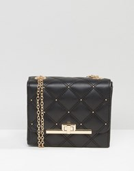 New Look Quilted Box Chain Cross Body Bag Black