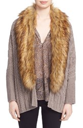 Joie Women's 'Raeka' Faux Fur Collar Cable Knit Cocoon Cardigan Heather Mushroom Natural