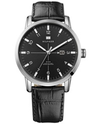 Tommy Hilfiger Men's Black Croco Embossed Leather Strap Watch 44Mm 1710330