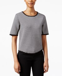 Rachel Rachel Roy Short Sleeve Striped Top Black Heather Grey
