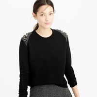 J.Crew Jeweled Wool Back Zip Sweater