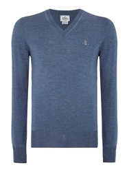 Vivienne Westwood V Neck Pull Over Logo Knitted Jumper Blue