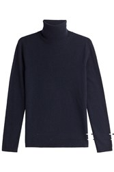 Max Mara Virgin Wool Turtleneck Pullover With Cashmere Blue