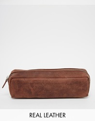 Leather Pencil Case In Brown