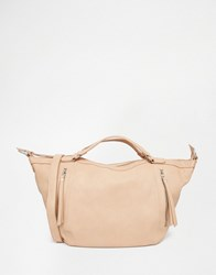 Pieces Slouchy Winged Tote Bag In Blush Nude Beige