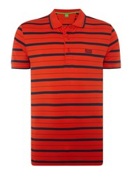 Hugo Boss Paddy 1 Regular Fit Stripe Polo Shirt Orange