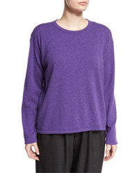 Eskandar Round Neck Cashmere Sweater Lavender Gray Dark