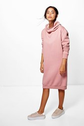 Boohoo Cowl Neck Long Sleeved Sweat Shirt Dress Dusky Pink
