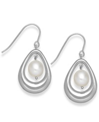 Macy's Cultured Freshwater Pearl Teardrop Earrings In Sterling Silver 8Mm