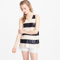 J.Crew Collection Rugby Stripe Sequin Tank Top