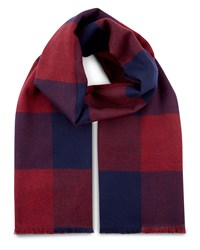Jaeger Wool Colour Block Check Scarf Red