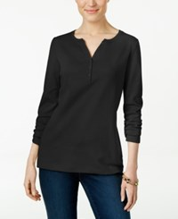 Karen Scott Long Sleeve Henley Top Only At Macy's Deep Black