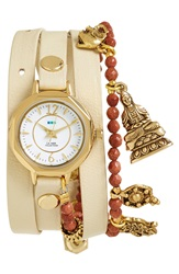 La Mer 'Martine Ilana' Leather And Stone Charm Bracelet Wrap Watch 19Mm Cream