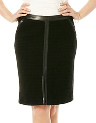 Laundry By Shelli Segal Faux Leather Trimmed Pencil Skirt Black