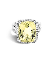 John Hardy Sterling Silver Batu Classic Chain Ring With Lemon Quartz And Diamonds Yellow White