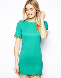 Arrogant Cat London Mini Bodycon Dress With Gold Ring Detail Green