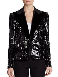 Dolce And Gabbana Velvet Lapel Sequin Blazer Black
