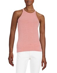 Design Lab Lord And Taylor Ribbed Halter Tank Red