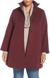 Cinzia Rocca Due Plus Size Women's A Line Wool Blend Stand Collar Coat