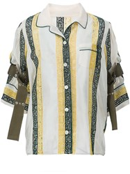 Sacai Embroidered Calligraphy Blouse Nude And Neutrals