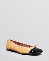 Paul Mayer Ballet Flats Cozy Quilted Black Beige