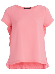 French Connection Poly Plains Short Sleeve Top Fizi Pink