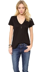 Splendid Very Light Jersey V Neck Tee Black